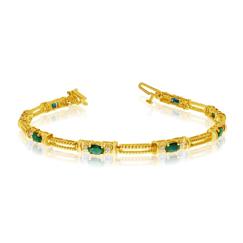 14K Yellow Gold Oval Emerald and Diamond Bracelet