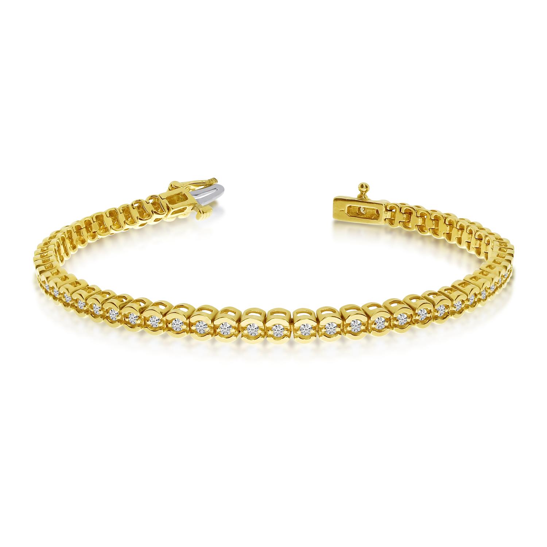 14K Yellow Gold Diamond Backset Bracelet