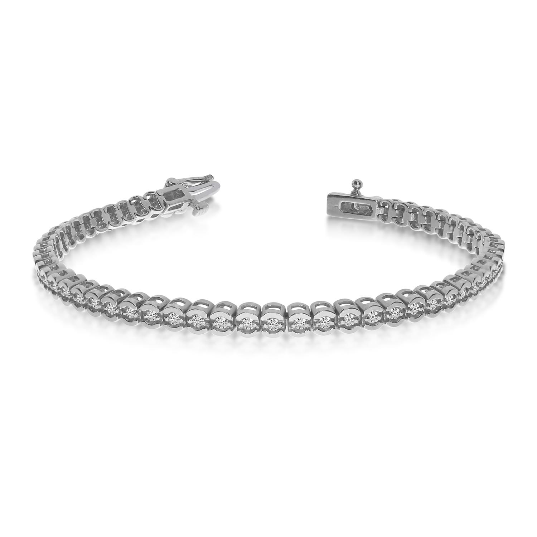 14K White Gold Diamond Backset Bracelet