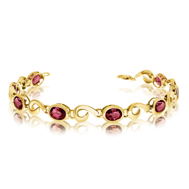 14K Yellow Gold Oval Garnet Bracelet