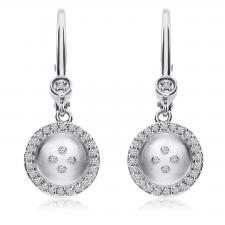 14K White Gold Satin Button Lever Back Earrings