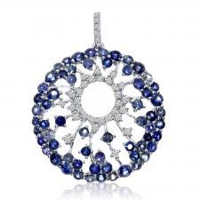 14k White Gold Starburst Sapphire Pendant