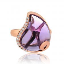 14k Rose Gold Pear Amethyst Ring