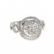 14k White Gold Diamond Cluster Swirl Ring