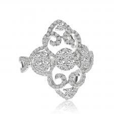 14k White Gold Diamond Scroll Ring