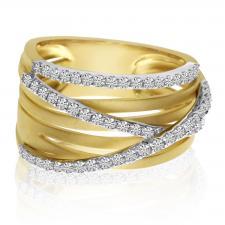 14k Yellow Gold Brushed 3 Row Diamond Ring