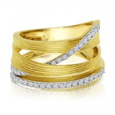 Gold Brushed Wide Diamond Ring