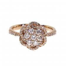 14k Rose Gold Diamond Flower Cluster Ring