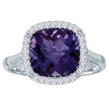 14k White Gold Cushion Cut Amethyst And Diamond Ring